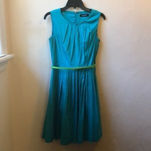 Teal pleated fit and flare dress